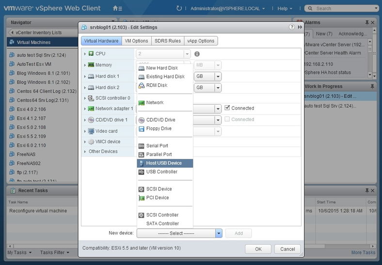 Connect USB to VMware ESXi
