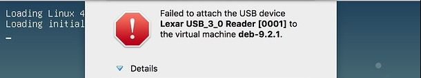failed to attach USB device to virtual machine